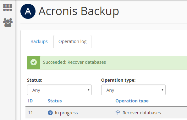 Acronis Operation Succeeded