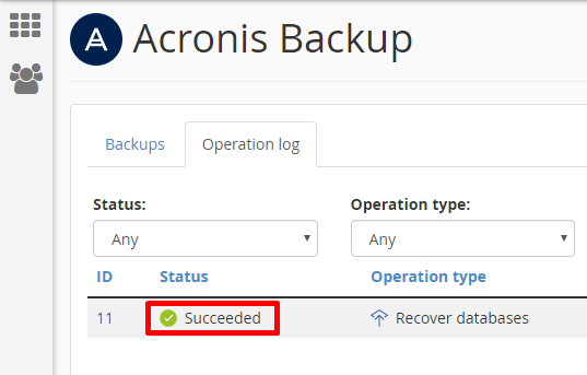 Acronis Operation Log Succeeded
