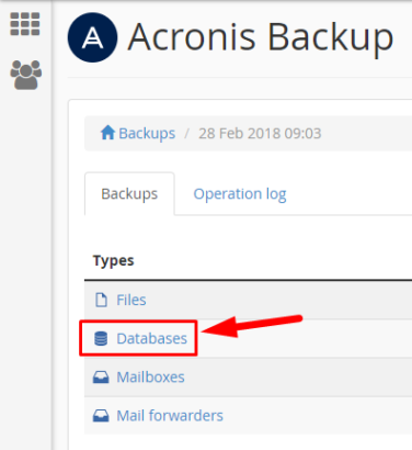Acronis - Select Database Option