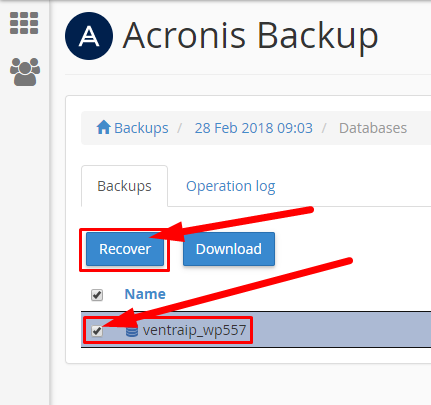 Acronis - Recover Database
