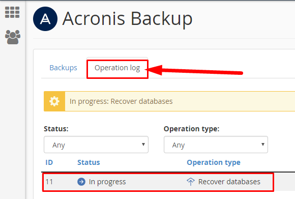 Acronis Operation Log