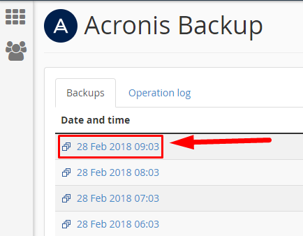 Acronis select backup date